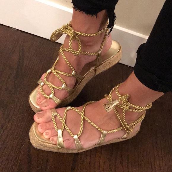 7f80da47302 Yves Saint Laurent Shoes | Yves St Laurent Vintage Gold Gladiator ...